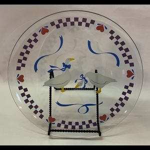 """Clear Glass Plate 13.25""""dia-Ducks Ribbons & Hearts"""